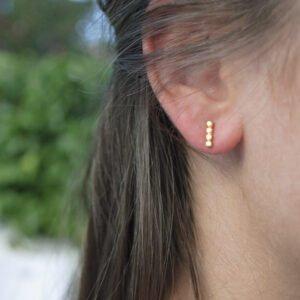 Camu Long Bar Earrings Gold Lady