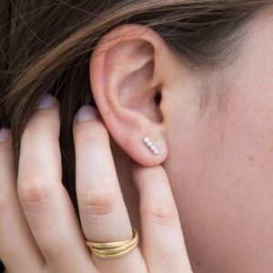 Camu Long Bar Earrings Silver Lady