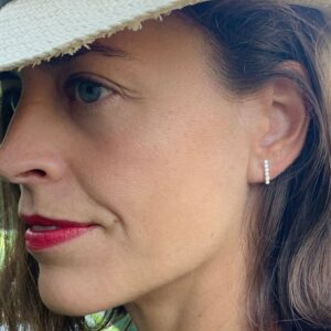 Camu X Long Bar Earrings Silver Lady