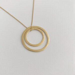 Double Circle L/M Necklace Gold