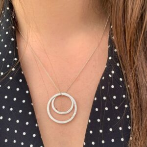 Double Circle L/M Necklace Silver Lady