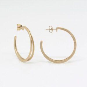 Double Mir L Hoop Earrings Gold