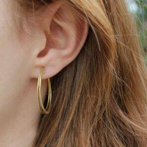 Double Mir L Hoop Earrings Gold Lady