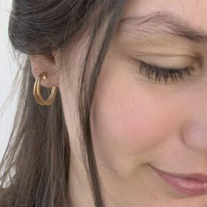 Double Mir M Hoop Earrings Gold Lady