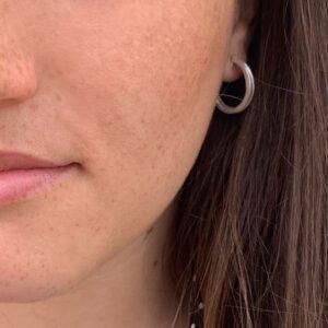 Double Mir M Hoop Earrings Silver Lady