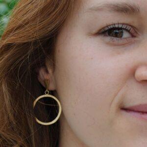 Hoop L Circle Earrings Gold Lady