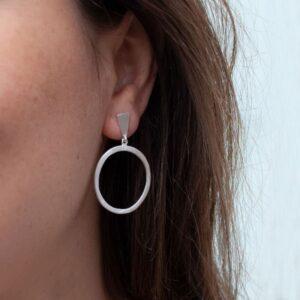 Hoop L Circle Earrings Silver Lady