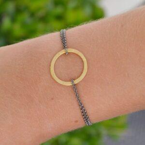 La Cala M Double Chain Circle Bracelet Gold Ruthenium Lady