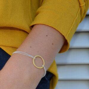 La Cala M Double Chain Circle Bracelet Gold Silver Lady