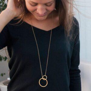 La Cala M Long Circle Necklace Gold Lady