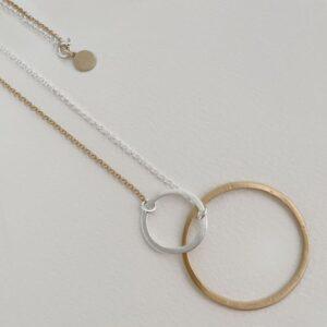 La Cala M Long Circle Necklace Gold Silver