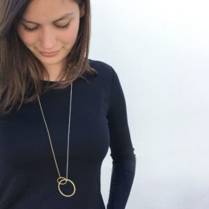La Cala M Long Circle Necklace Gold Silver lady
