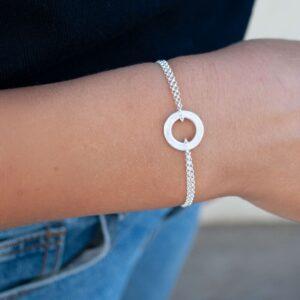 La Cala S Double Chain Circle Bracelet Silver Lady