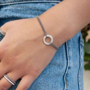 La Cala S Double Chain Circle Bracelet Silver Ruthenium Lady