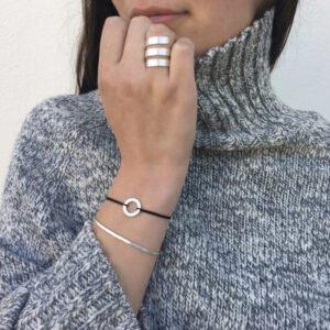 Circle S Nylon Bracelet Silver Lady