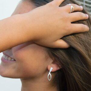 Maria M Pendant Earrings Silver Lady