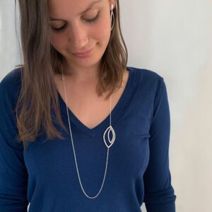Maria double Long Necklace silver Lady