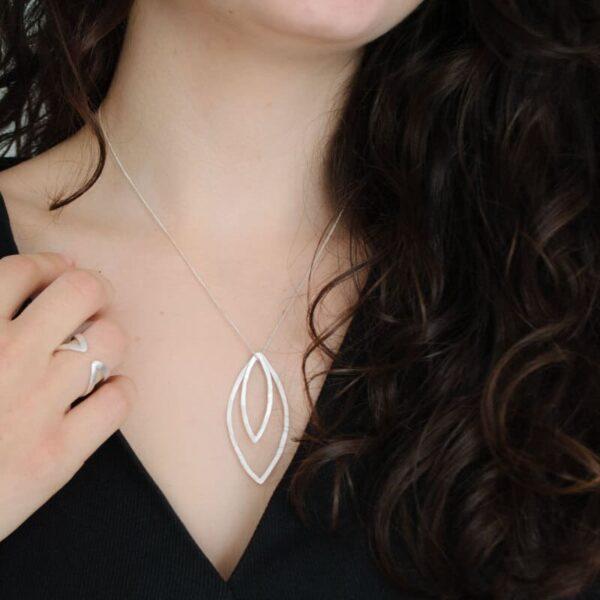 Maria double pendant silver lady