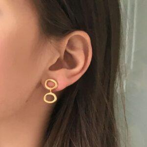Nicola Double Earrings Gold Lady