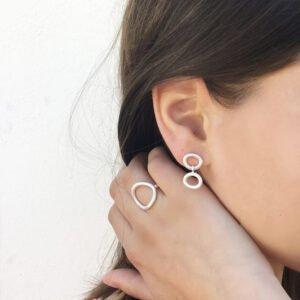 Nicola Earrings Double Silver Lady