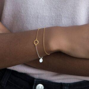 One Soul Circle Double Bracelet Gold Silver Lady.