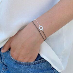 One Soul Circle Double Bracelet Silver Ruthenium Lady