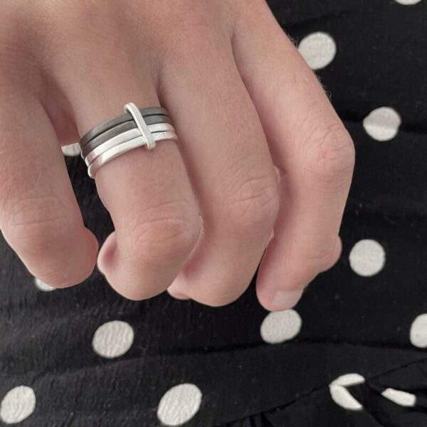 Sophie 4Mix Ring Silver ruthenium lady