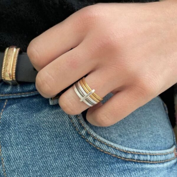 Sophie 5Mix Ring Gold Silver Ruthenium lady