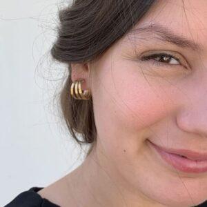 Sophie Triple Hoop Earrings Gold Lady