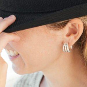 Sophie Triple Hoop Earrings Silver Lady