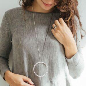 Twin XXL Necklace Silver Rutenium lady