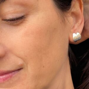 double Spring moon earrings silver lady