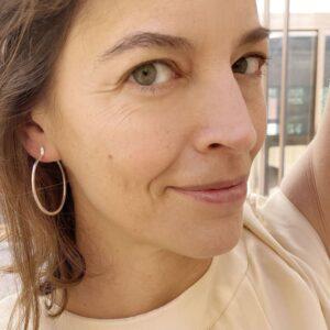 mir L hoop earrings silver lady