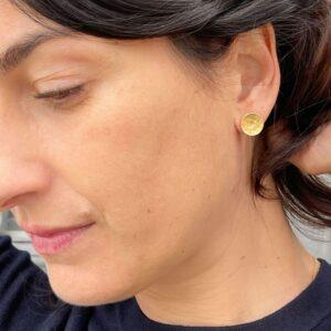moon S earrings gold lady