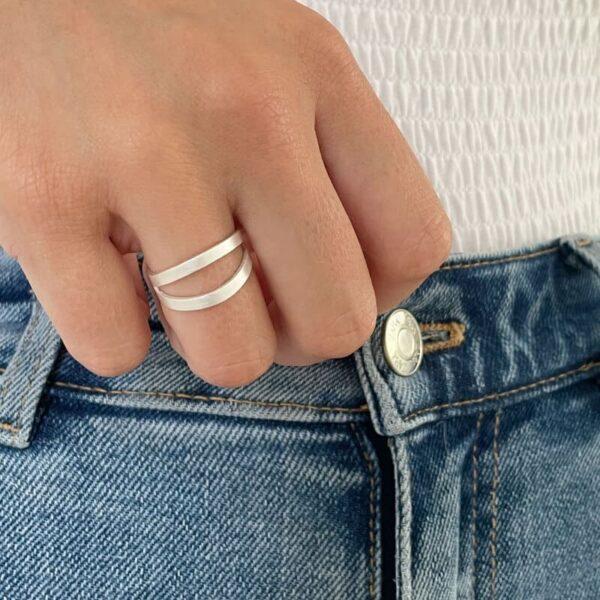 nina double ring silver lady
