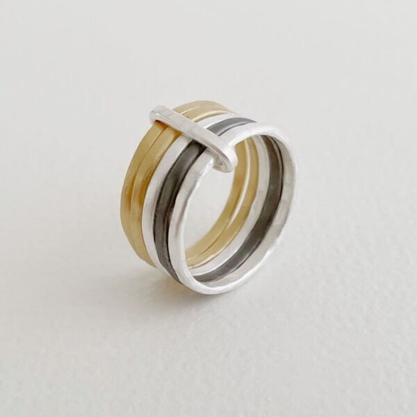 sophie 5mix ring silver gold ruthenium